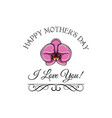 mothers day greeting card pink orchid swirls vector image vector image