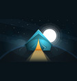 night landscape tent and moon vector image