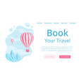 online travel booking landing web page concept vector image vector image