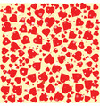 red hearts diferent size round background template vector image vector image