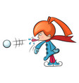 redhead cartoon girl shows tongue and throws snow vector image