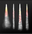 rocket smoke realistic effect speed flying vector image
