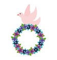 romantic pigeon with wreath flowers decoration vector image