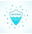 save the ocean background with shield in vector image