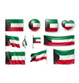 set kuwait flags banners banners symbols flat vector image vector image