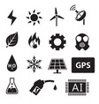 set of power and energy system in silhouette icons vector image vector image