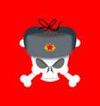 skull in fur hat symbol of specter of communism vector image vector image