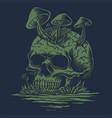 skull mushrooms in river vector image