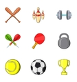 Sports stuff icons set cartoon style vector image vector image