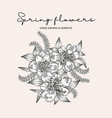 spring flowers composition hand drawn vector image