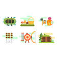 tourist equipment set camping elements summer vector image vector image