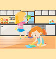 two girls cleaning kitchen and floor vector image vector image