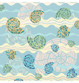 vector background with sea shells and waves vector image vector image