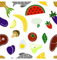 vegetables fruits fish and meat vector image