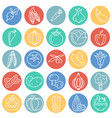 vegetables line icons set on color circles white vector image