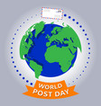 world post day or international postal day vector image vector image