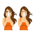 young sick woman ill suffering allergy vector image