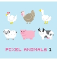 Pixel art style farm animals cartoon set 1 vector image