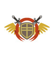 medieval coat of arms with crossed swords and vector image