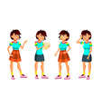 asian teen girl poses set active vector image