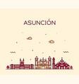 asuncion skyline paraguay city linear style vector image vector image