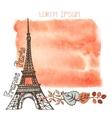 Autumn ParisEiffel towerwatercolor splashleaves vector image vector image