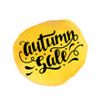 autumn sale badge template with brush lettering vector image vector image