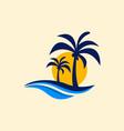 beach palm vacation creative logo vector image vector image