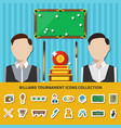 billiard tournament icons collection vector image vector image