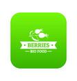 bio food berries icon green vector image vector image