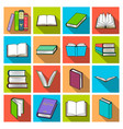 books set icons in flat style big collection of vector image