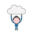 businessman character holding up cloud color and vector image vector image