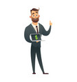 businessman holds laptop in hand shows profit on vector image vector image