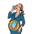businesswoman is pregnant phone is born in vector image vector image