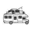 camper van vehicle sketch engraving vector image