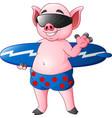 cartoon surfer pig waving hand vector image