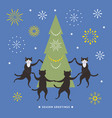 cats dancing and christmas tree vector image