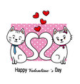 Cats in love Valentine card vector image vector image