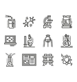 Chemistry symbols simple line icons set vector image