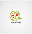 circle green fresh salad logo icon element and vector image vector image