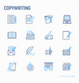copywriting thin line icons set vector image vector image