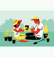 couple teamwork agriculture gardening planting vector image vector image