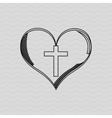 cross inside the heart design vector image