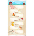 days week poster with farm animals vector image