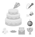 event organisation monochrome icons in set vector image vector image