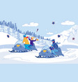 family snowmobile winter races joy with children vector image vector image