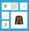 flat icon cotton set of blouse hosiery bud and vector image vector image