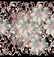 floral seamless pattern 3d flowers vector image vector image