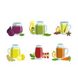 fruit and vegetables smoothies set detox vector image vector image