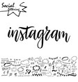 hand drawn lettering word with set of social media vector image